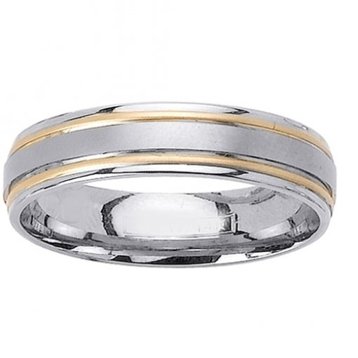 Two Tone Gold Double Grooved Matte Finish Wedding Band 5mm