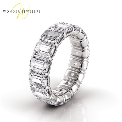9.0 TCW Emerald Diamond Petite Prong Set Eternity Band in Platinum (H-I COLOR, SI1 CLARITY)