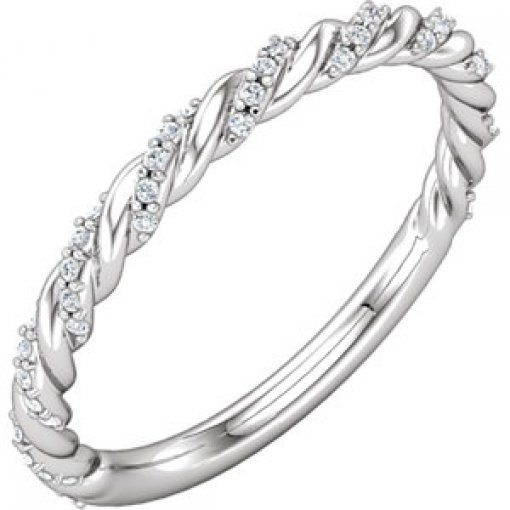 0.12ct Round 14K White Gold Twisted Rope Band