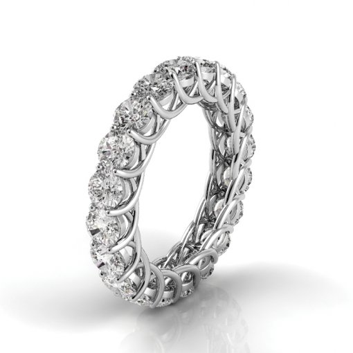 3.5 TCW Round Diamond Trellis Set Eternity Band in White Gold (G-H COLOR, VS2 CLARITY)