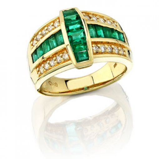 1.63CT Baguette 18K Yellow Gold Emerald Ring