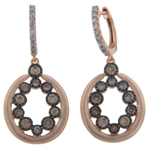 0.82CT  Round 14Kr 0.82Brn Dia/0.21(Hi/I1) Earrings Dark Brown/SI3 ()