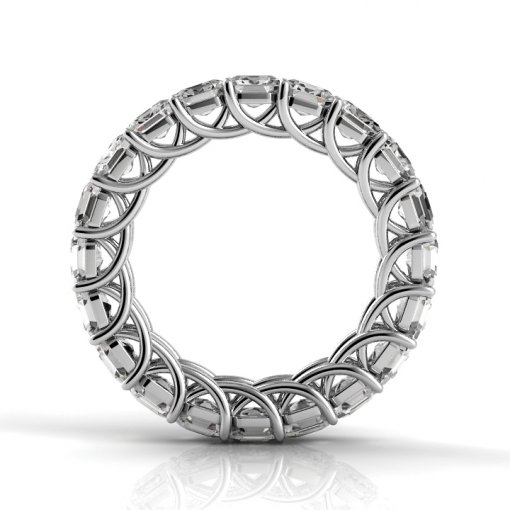 7.5 TCW Asscher Diamond Trellis Set Eternity Band in White Gold (F-G COLOR, VS2 CLARITY)