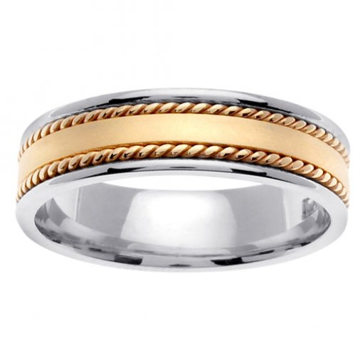 Two Tone Gold Matte Flat Center Cord Inlay Wedding Ring 5mm
