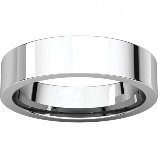 14K White Gold 5mm Comfort Flat Classic Wedding Band