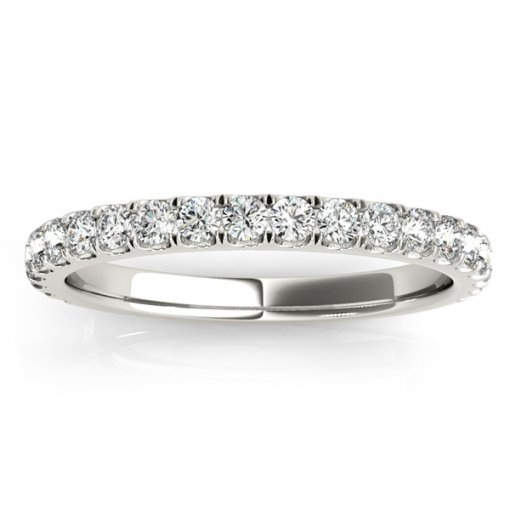 0.42ctw Round Diamond U Pave Set Wedding Ring