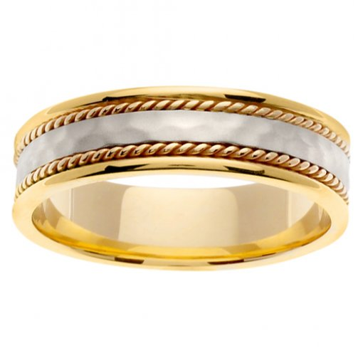 Two Tone Gold Light Hammer Finish Cord Inlay Wedding Band 5mm