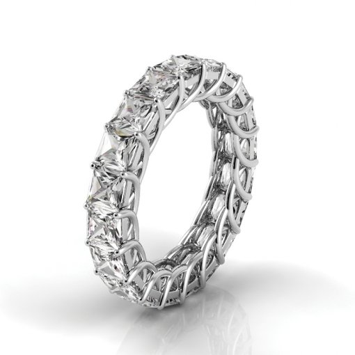 5.5 TCW Princess Diamond Trellis Set Eternity Band in White Gold (G-H COLOR, VS2-SI1 CLARITY)