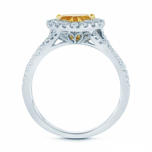 1.78ct Fancy Yellow Heart Shape Cut Diamond Engagement Ring SI2 GIA
