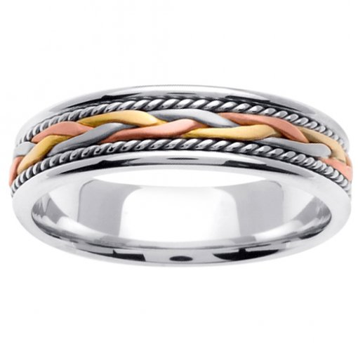 Tri-Color Wheat Braid and Cord Wedding Band 5mm