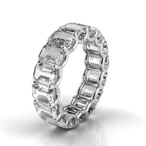 7 TCW Emerald Diamond U-Prong Set Eternity Band in White Gold (F-G COLOR, VS2 CLARITY)