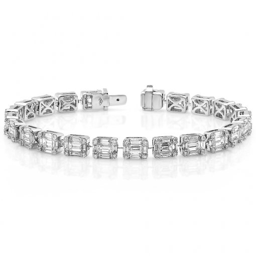 8.04ctw diamond Tennis  bracelet in 18k white gold