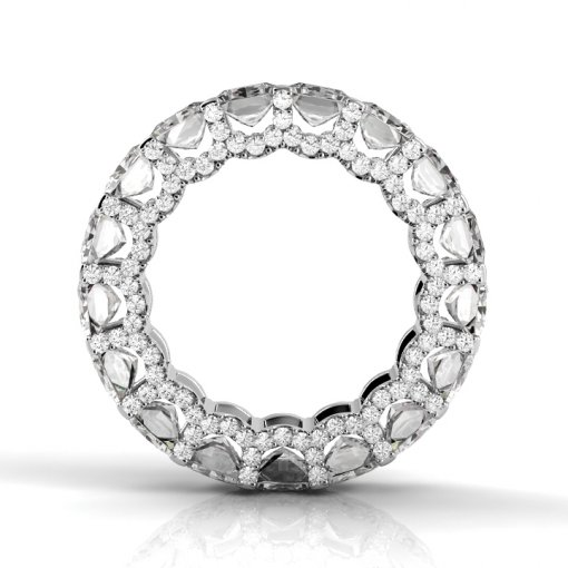 6.5 TCW Princess Diamond U-Shape Pave Set Eternity Band in White Gold (G-H COLOR, VS2-SI1 CLARITY)