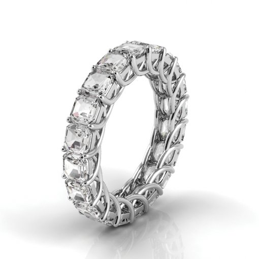 6 TCW Asscher Diamond Trellis Set Eternity Band in White Gold (H-I COLOR, VS2 CLARITY)