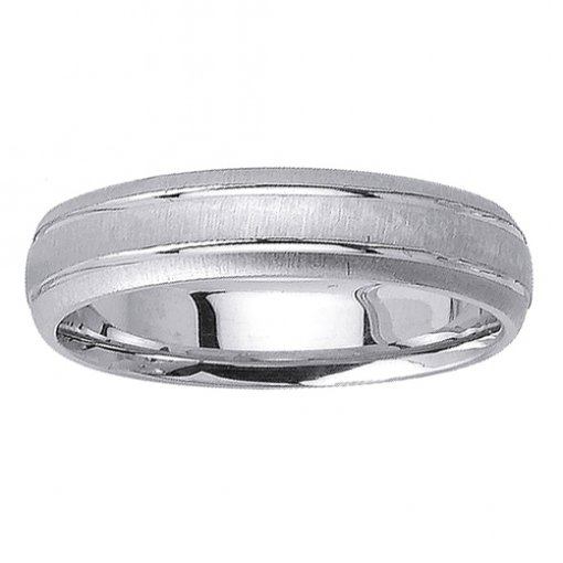 White Gold Grooved Textured Wedding Ring 4mm