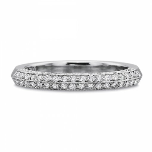 0.60ct Four Sided Round Diamond Pave Set Band (With Milgrain)