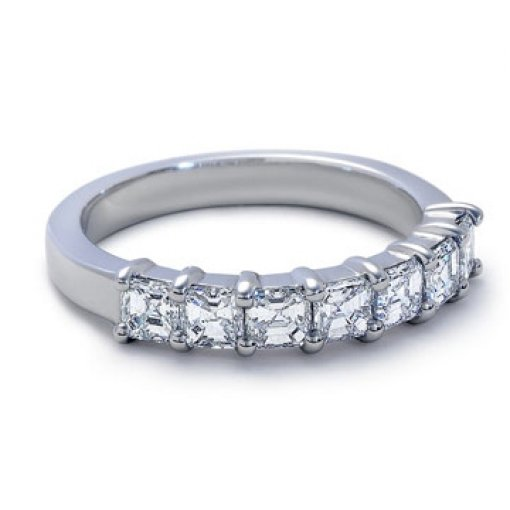 1.50ct 7 Stone Asscher Diamond Wedding Band