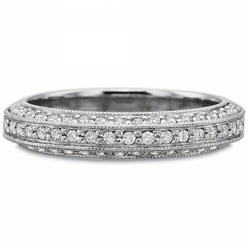 0.50ct Three Sided Round Diamond Pave Set Band (With Milgrain)