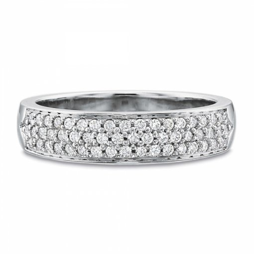 0.45ct 2 Row Round Diamond Pave Set Band (Half Way)