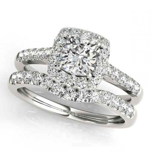 0.40ct Square Halo Pave Diamond Engagement Ring