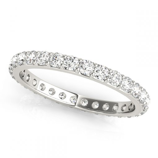 0.5 TCW Round Diamond Flat Prong Set Eternity Band in Platinum (G-H COLOR, VS2-SI1 CLARITY)