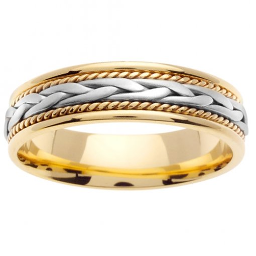 Two Tone Cord and Wheat Braid Wedding Band 5mm