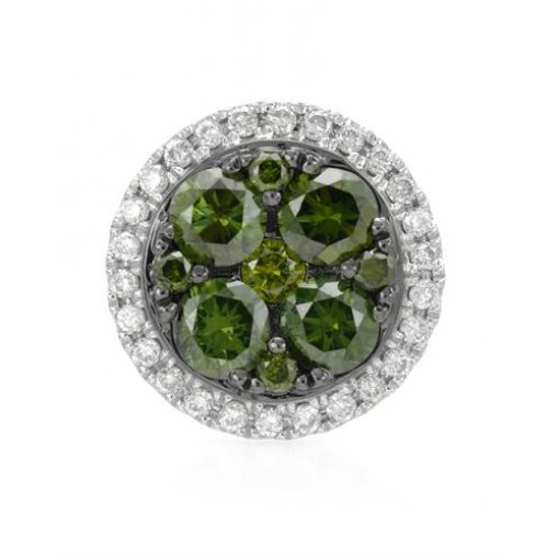 White & Green Diamond Halo Pendant in White Gold
