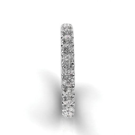 6 TCW Round Diamond French Pave Set Eternity Band in White Gold (F-G COLOR, VS2 CLARITY)
