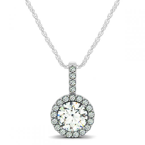 Diamond Halo Shared Prong Drop Pendant CTW 0.4075