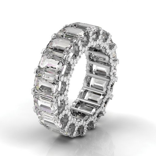 8 TCW Emerald Diamond U-Shape Pave Set Eternity Band in White Gold (F-G COLOR, VS2 CLARITY)
