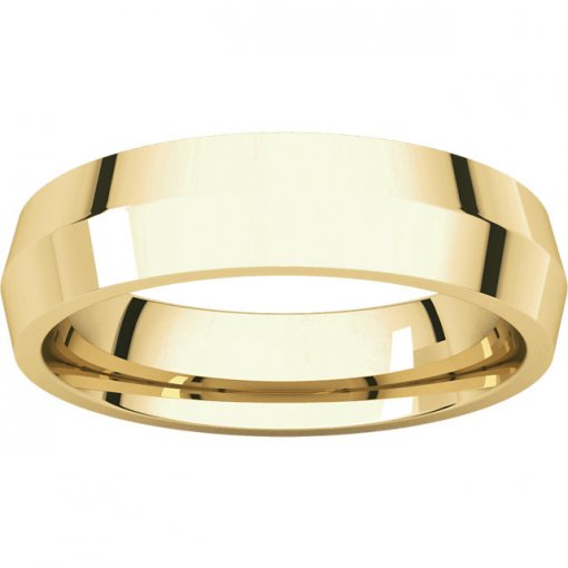 14K Yellow Gold 5mm Comfort Classic Knife Edge Wedding Band