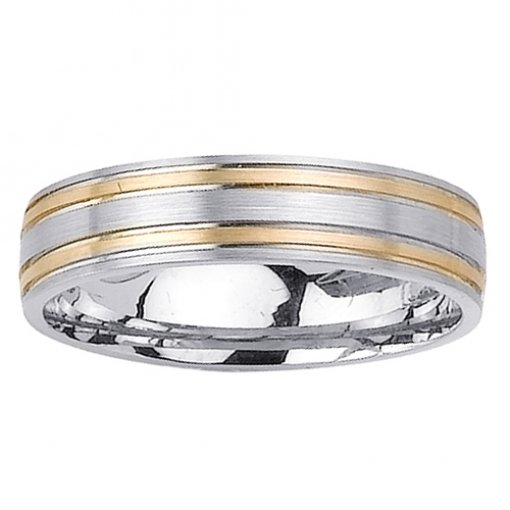 Two Tone Gold Flat Double Grooved Matte Finish Wedding Band 5mm
