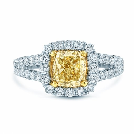 1.97ctw Fancy Yellow Cushion Cut Diamond Engagement Ring VS1 EGL USA