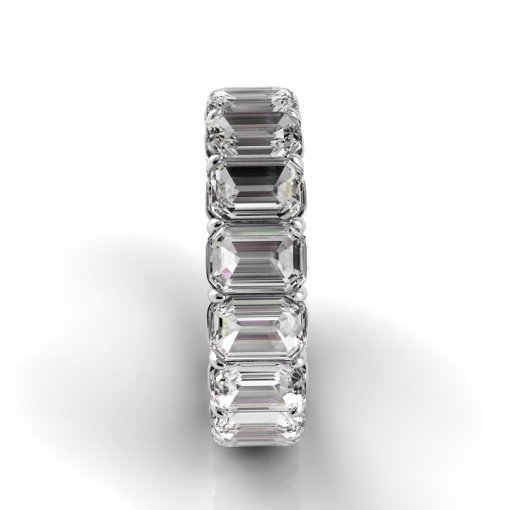 9.0 TCW Emerald Diamond Petite Prong Set Eternity Band in Platinum (F-G COLOR, VS2 CLARITY)