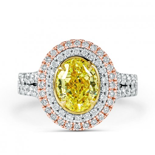 3.04ct GIA Oval 18K White Gold Double Halo Engagement Ring Fancy Yellow/SI1 (5171101995)