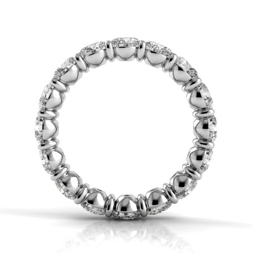 2.5 TCW Round Diamond Petite Prong Set Eternity Band in White Gold (G-H COLOR, VS2-SI1 CLARITY)