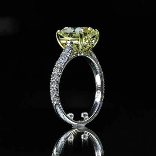 3.36ct GIA Cushion 18K White Gold Engagement Ring Fancy Yellow/SI1 (2136185545)