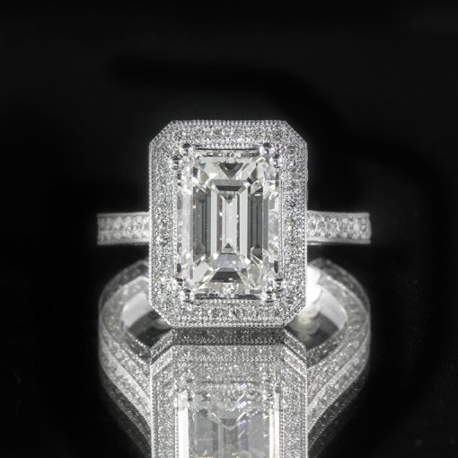 2.11ct GIA  18K White Gold Emerald Cut Diamond Engagement Ring F/VS1