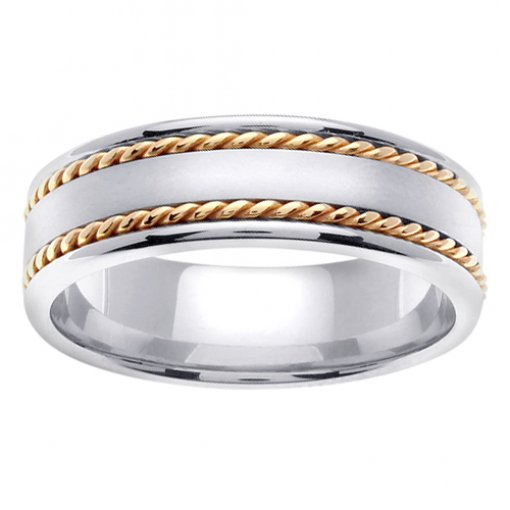 Two Tone Gold Cord Inlay Matte Flat Center Wedding Ring 5mm