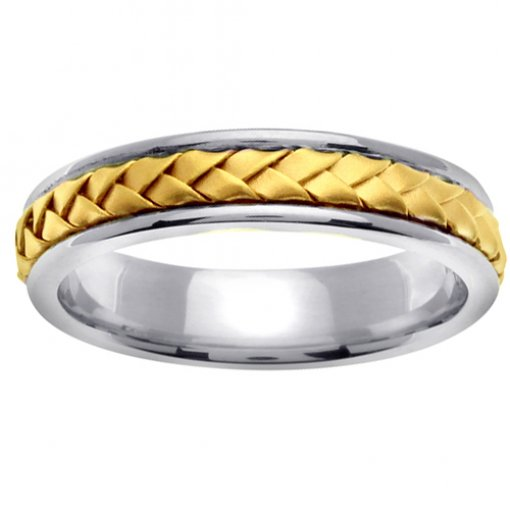Hand Braided Two Tone Gold Wedding Band 4.5mm