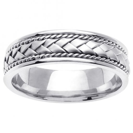 White Gold Cord and Braided Wedding Band 5mm