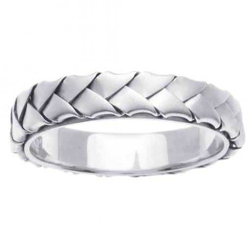 White Gold Wide Weave Hand Braided Wedding Band 4mm