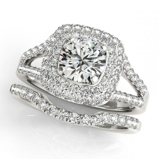 Split Shank Double Square Diamond Halo Engagement Ring in White Gold (0.7 CTW)