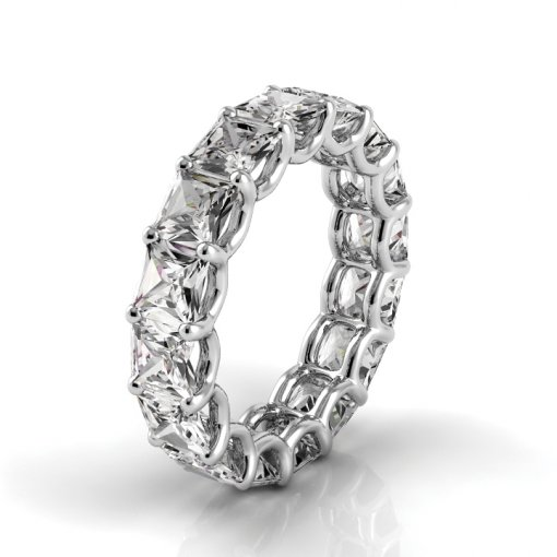 7.5 TCW Princess Diamond U-Prong Set Eternity Band in White Gold (G-H COLOR, VS2-SI1 CLARITY)