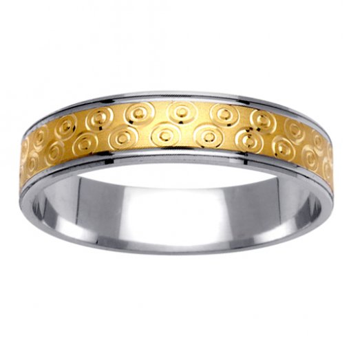 Two Tone Gold Round Design Carved Wedding Ring 4mm