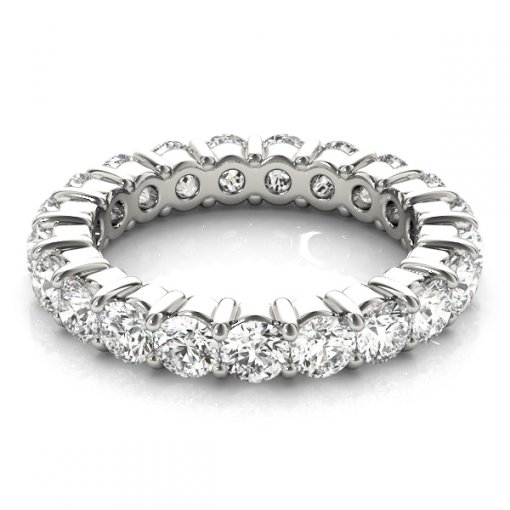 5.5 TCW Round Diamond Shared Prong Set Eternity Band in Platinum (G-H COLOR, VS2-SI1 CLARITY)
