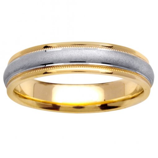 Two Tone Gold Domed Satin Milgrain Edge Wedding Band 4mm