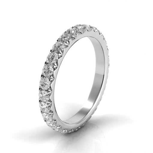 3 TCW Round Diamond French Pave Set Eternity Band in White Gold (G-H COLOR, VS2 CLARITY)