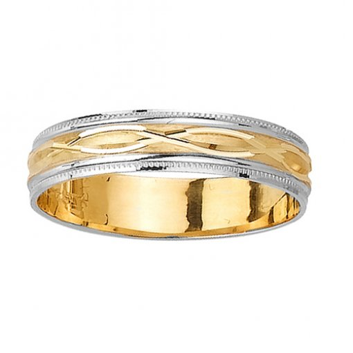 Two Tone Gold Infinity Carved Milgrain Edge Wedding Ring 4mm