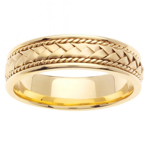 Yellow Gold Cord and Braided Wedding Band 5mm
